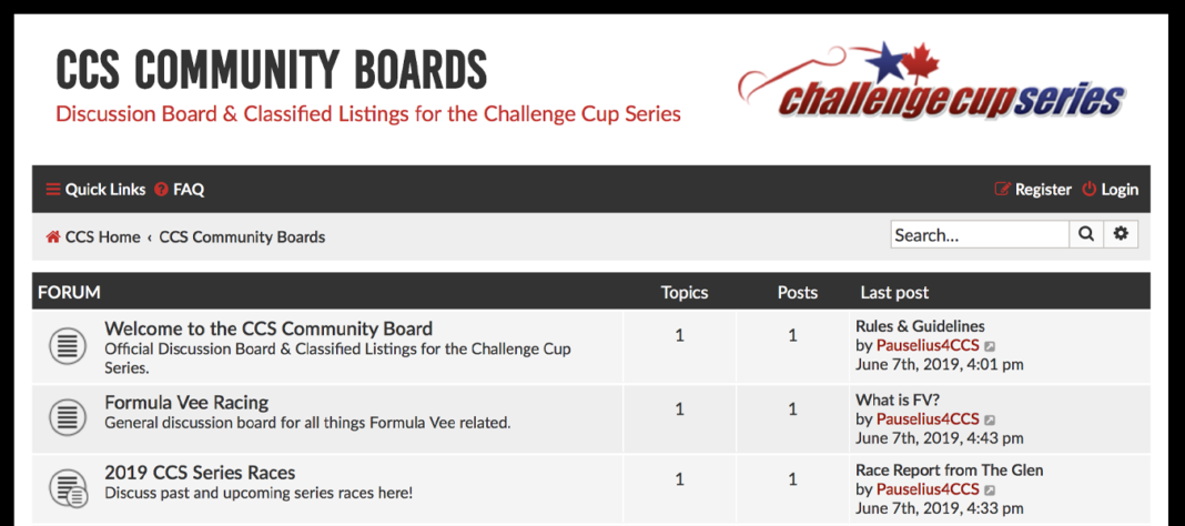 Challenge Cup Series Board & Classified listing are NOW OPEN!